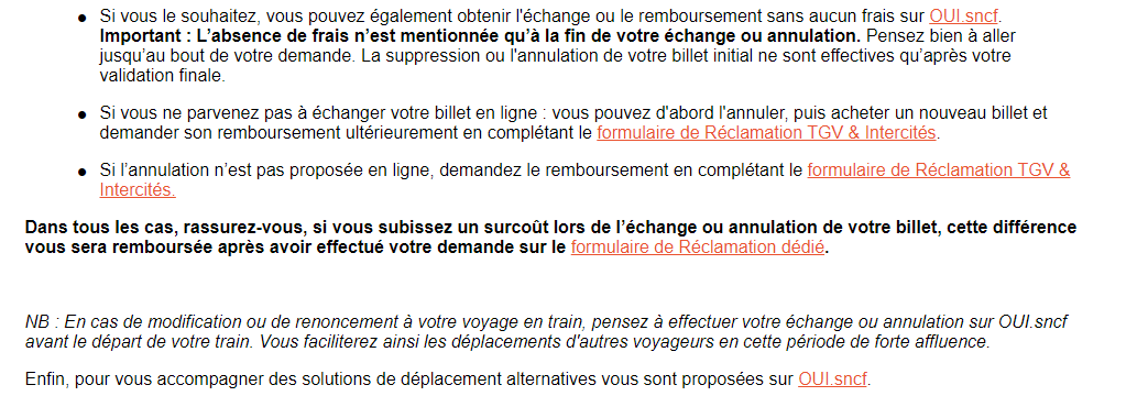 Conditons remboursements SNCF pendant les grèves 2019